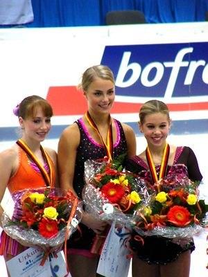 2004–05 ISU Junior Grand Prix - The ladies podium at the event in Germany