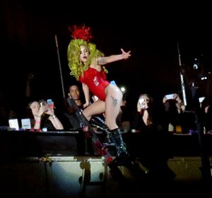 """Lady Gaga Live at Roseland Ballroom - During the performance of """"Bad Romance"""", Gaga climbed a set of stairs to the mezzanine floors"""