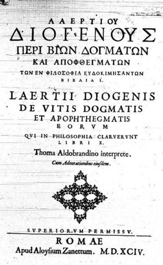 Lives and Opinions of Eminent Philosophers - Title page of an edition in Greek and Latin, 1594