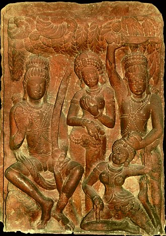 Dashavatara Temple, Deogarh - A Deogarh temple Ramayana relief now in National Museum, Delhi; L to R: Rama, Sita, Lakshmana, in lower right is demoness Surpanakha caught after harassing Sita and Rama.