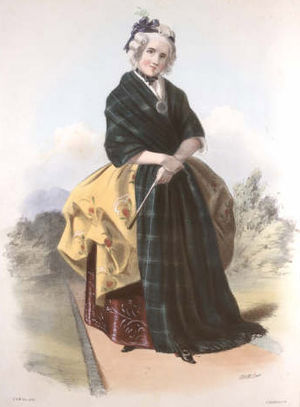 Clan Lamont - A Victorian era print of the Lamont tartan from The Clans of the Scottish Highlands by R. R. McIan, published in 1845.