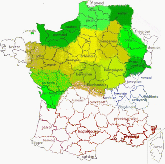 History of French - The area of langues d'oïl