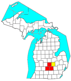 Location of the Lansing–East Lansing–Owosso CSA and its components:   Lansing–East Lansing Metropolitan Statistical Area   Owosso Micropolitan Statistical Area