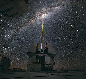 Adaptive optics - A laser beam directed toward the centre of the Milky Way. This laser beam can then be used as a guide star for the AO.