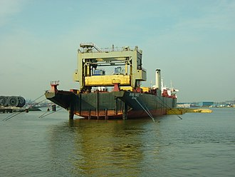 Lighter aboard ship - MV Rhine Forest in the Port of Rotterdam