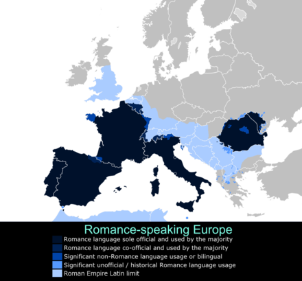 Romanian is an Eastern Romance language, part of the larger linguistic family of Romance languages alongside French, Italian, Spanish, Portuguese and Catalan. LatinEuropeans.png