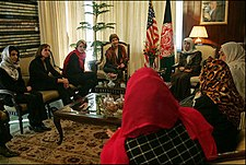 Laura Bush and Zenat Karzai talk with women of Afghanistan.jpg