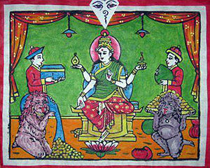 Khyah (legendary creature) - Painting showing Goddess Lakshmi and a pair of Khyahs (foreground).