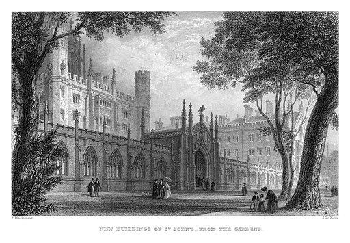 LeKeux - Cambridge, c1840 - St John's 01, New Court from the Gardens - memorialsofcambr01wriguoft 0166