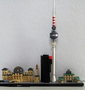 Bahntower - The skyline of Berlin in the Lego Architecture series - the Bahntower can be seen in the centre