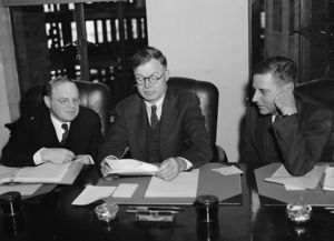 J. Warren Madden - NLRB Member William M. Leiserson (left), J. Warren Madden, and NLRB Member Edwin S. Smith (right) during testimony before the Smith Committee on December 22, 1939.