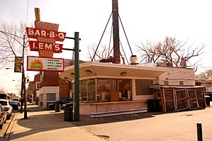 Greater Grand Crossing, Chicago - Lem's Bar-B-Q restaurant on Grand Crossing's 75th Street business district.