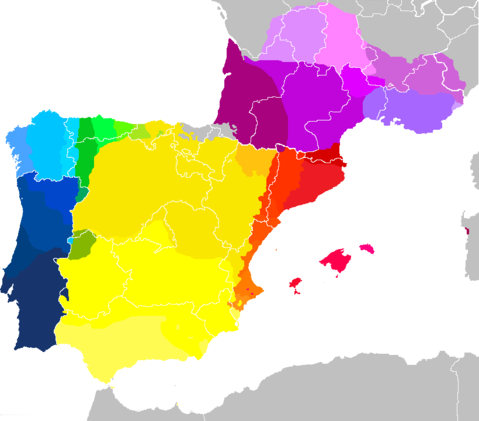 Map showing mostly contemporary West Iberian and Occitano-Romance languages,as well many of their mainland European dialects (areas colored green,gold or pink/purple represent languages deemed endangered by UNESCO,so this may be outdated in less than a few decades). It shows European Portuguese,Galician,Eonavian,Mirandese and the Fala as not only closely related but as dialect continuum,though it excludes dialects spoken in insular Portugal (Azores and Madeira-Canaries is not shown either). Lenguas y dialectos iberorromances.PNG