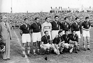 1939 Poland v Hungary football match - Hungarian team posing before the game on Warsaw's Polish Army Stadium