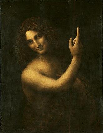 St. John the Baptist (Leonardo) - Image: Leonardo da Vinci Saint John the Baptist C2RMF retouched