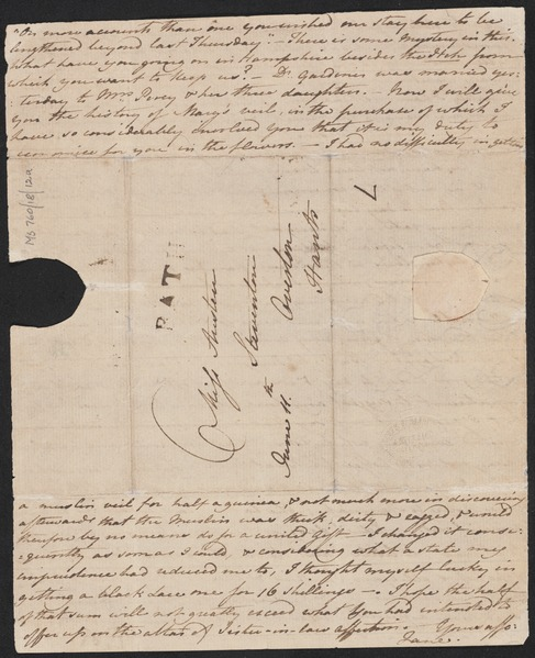 Letter from Jane Austen to her sister Cassandra, 1799 June 11. Page 4 (NLA)