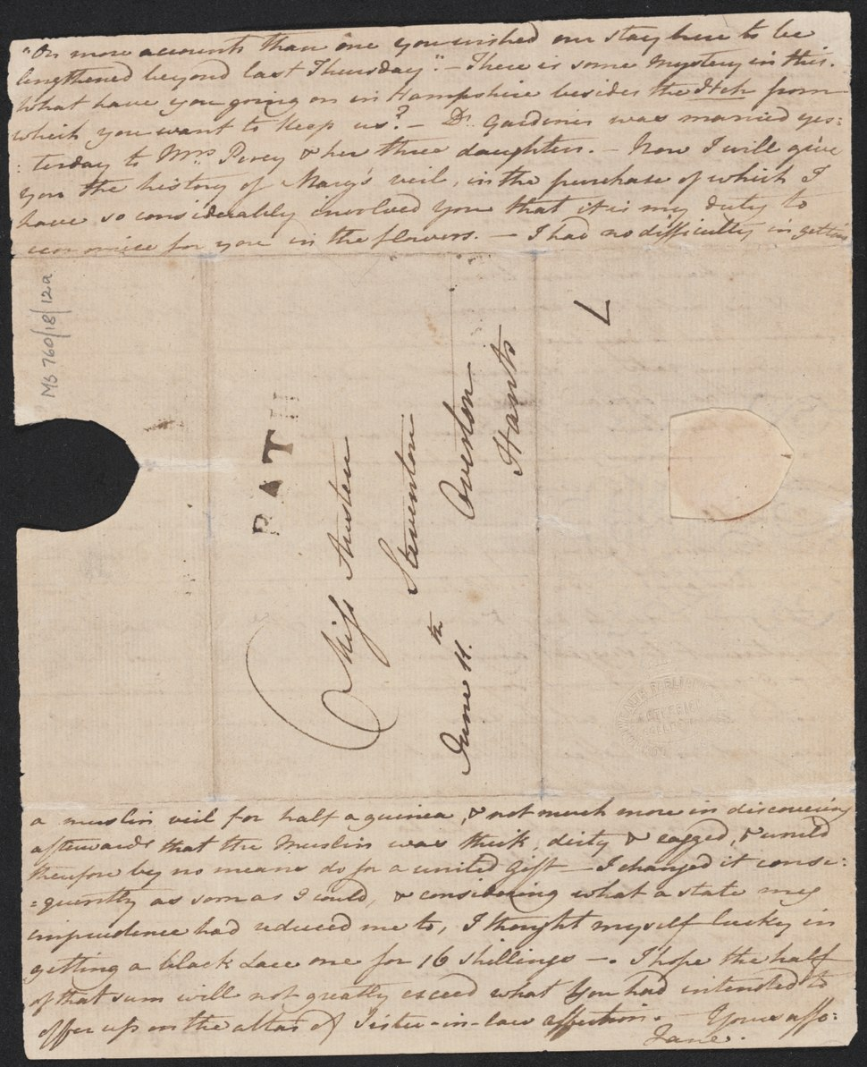 Letter from Jane Austen to her sister Cassandra, 1799 June 11. Page 4 (NLA).tiff