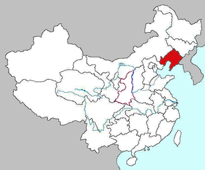 Confuciusornithidae - A map showing Liaoning Province in China, where most Confuciusornithid fossils have been found.