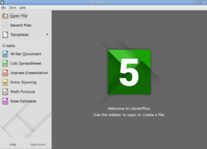 LibreOffice 5.0.3 (en) Start Center in Knoppix 7.2.png