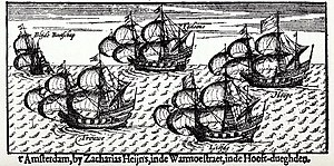 "William Adams (sailor) - From left to right: ""Blijde Bootschap"", ""Trouwe"",  ""'T Gelooue"", ""Liefde"" and ""Hoope"". 17th-century engraving."