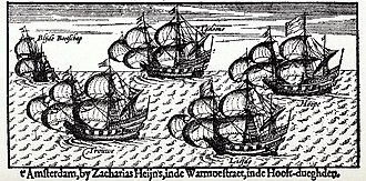 "William Adams (sailor, born 1564) - From left to right: ""Blijde Bootschap"", ""Trouwe"",  ""'T Gelooue"", ""Liefde"" and ""Hoope"". 17th-century engraving."