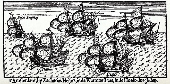 "From left to right: ""Blijde Bootschap"", ""Trouwe"", ""'T Gelooue"", ""Liefde"" and ""Hoope"". 17th-century engraving. LiefdeShip.jpg"