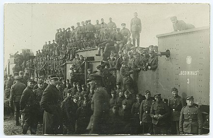 Lithuanian armoured train Gediminas 3, used in Lithuanian Wars of Independence and Lithuanian soldiers Lietuvos sarvuotas traukinys Gediminas.jpg