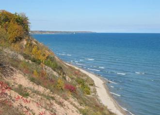 Lake surfing - Wave lines in Lake Michigan.