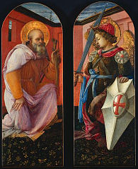Pair of Panels from a Triptych: The Archangel Michael and St. Anthony Abbot