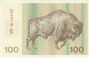 Lithuanian talonas - Example of the first edition 100 talonas, with a wisent depicted.