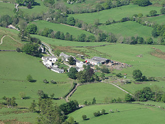 Newlands Valley - The hamlet of Little Town seen from Catbells. It consists of a farm and few cottages