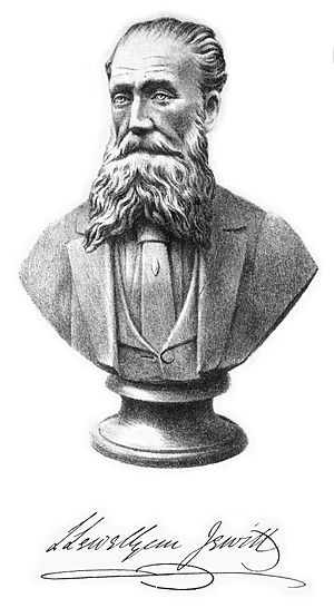 Llewellynn Jewitt - Engraving of a bust of Llewellyn Jewitt. The engraving is made by Llewellyn Jewitt himself according to a bust made by William Henry Goss.