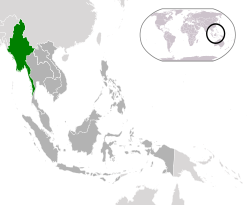 Location of  Burma  (green)in ASEAN  (dark grey)  —  [Legend]