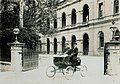 Locomobile with James Trackson at the tiller, Parliament House, Brisbane, ca. 1902 (4583458474).jpg