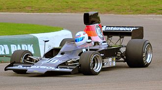 Mallory Park - The Interscope-liveried Lola T332 Formula 5000 car rounds the hairpin at Mallory Park, October 2009.