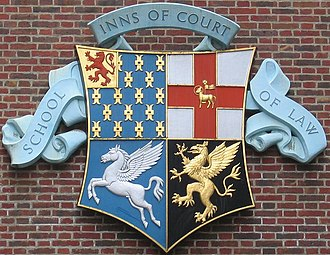 Bencher - Combined arms of the four Inns of Court. Clockwise from top left: Lincoln's Inn, Middle Temple, Gray's Inn, Inner Temple.