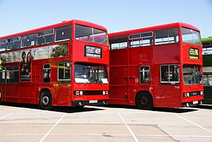 London Transport buses T684 (OHV 684Y) & T1101 (B101 WUV), 2010 North Weald bus rally.jpg