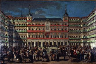Plaza Mayor, Madrid - Ornate of the Plaza Mayor on the occasion of the entry of Charles III in Madrid. Oil painting of Lorenzo Quirós (1760). Royal Academy of Fine Arts of San Fernando.