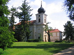 Baroque chateau and Catholic church