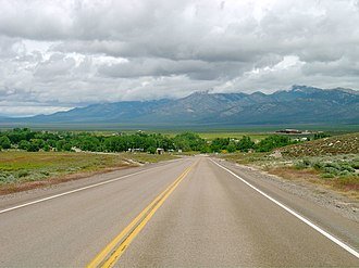 Nevada State Route 318 - Looking north on SR 318 towards Lund