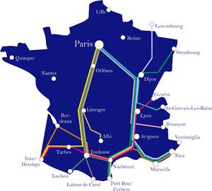 Intercités de Nuit - Network map, 2012.