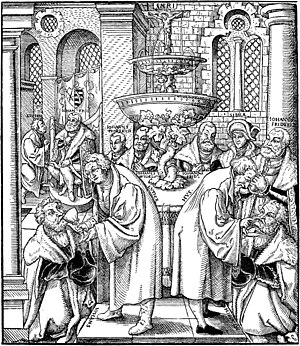 Fountain of Life - Allegoric representation of Sacramental union, the Lutheran doctrine of Real presence of Christ in the Eucharist, after a woodcut by Lucas Cranach the Elder (ca. 1550). In the front Communion under both kinds is pictured with (on the left) Martin Luther giving the chalice to John, Elector of Saxony and on the right Jan Hus giving the eucharistic bread to Frederick III, Elector of Saxony (Frederick the Wise). In the back a Fountain of Living Water: The blood of Christ's Five Holy Wounds spills in a fountain on the altar.