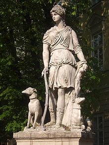 Statue of the Greek Goddess Diana in Lviv, Ukraine.