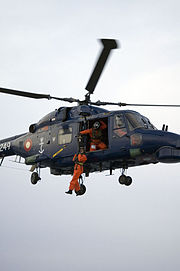 Danish Super Lynx during a hoist operation.