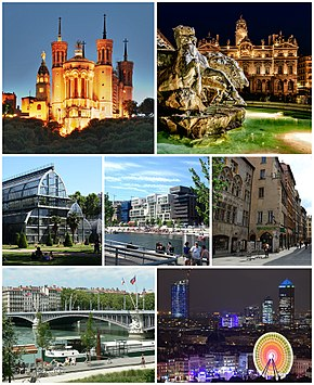 Top: Basilica of Notre-Dame de Fourvière, Place des Terreaux with Fontaine Bartholdi and Lyon City Hall at night. Centre: Parc de la Tête d'Or, Confluence district and the Vieux Lyon. Bottom: Pont Lafayette, Part-Dieu district with the Place Bellecour in foreground during Festival of Lights.