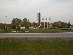 Målilla roundabout, here in October 2005, has a huge thermometer in its centre