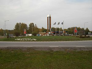 Målilla - Målilla roundabout, here in October 2005, has a huge thermometer in its centre