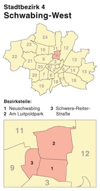Schwabing - Image: München Stadtbezirk 04 (Karte) Schwabing West