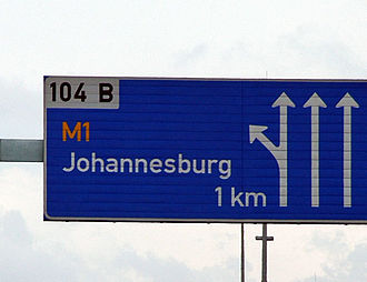 A board on the N3 indicating the exit for Johannesburg. The M1 is one of the busiest highways in Johannesburg. M1 Johannesburg Highway Sign.JPG