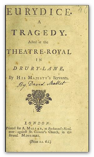 David Mallet (writer) - Image: MALLET(1731) Eurydice a tragedy in five acts and in verse